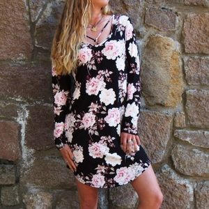 NWT Floral Black and Rose Pink Strappy Mini Dress